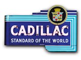 "Cadillac ""Standard of the World"" with Crest Neon Signs Mounted Back-To-Back - $"