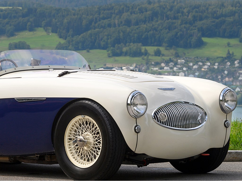 1955 AustinHealey 100S offered at RM Sothebys St. Moritz Live Collector Car Auction 2021