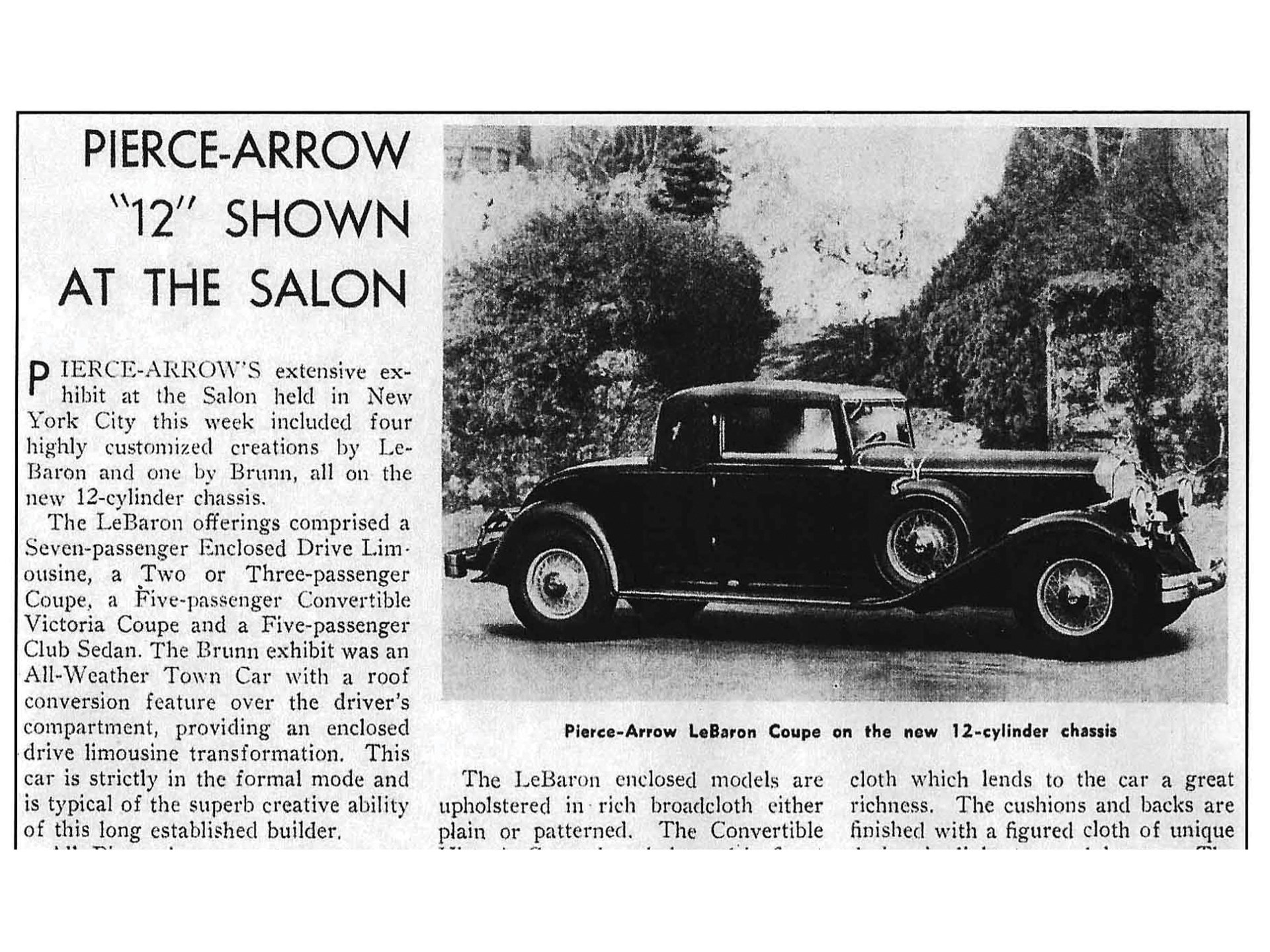 A period article confirming the car's appearance at the New York Auto Show.