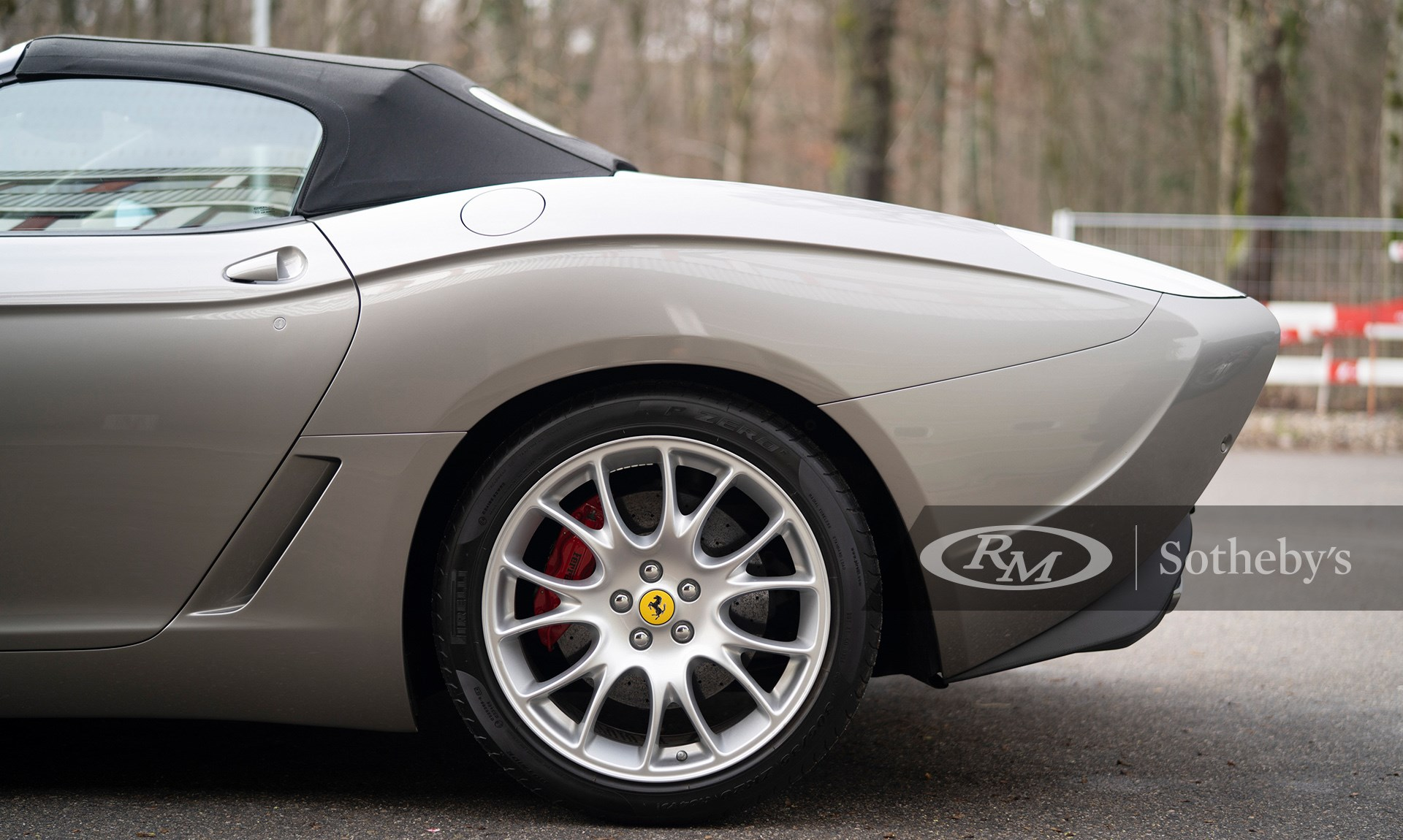 Side profile of the Gunmetal Grey 2009 Ferrari 599 GTZ Nibbio Spyder by Zagato available at RM Sotheby's Paris Auction 2021