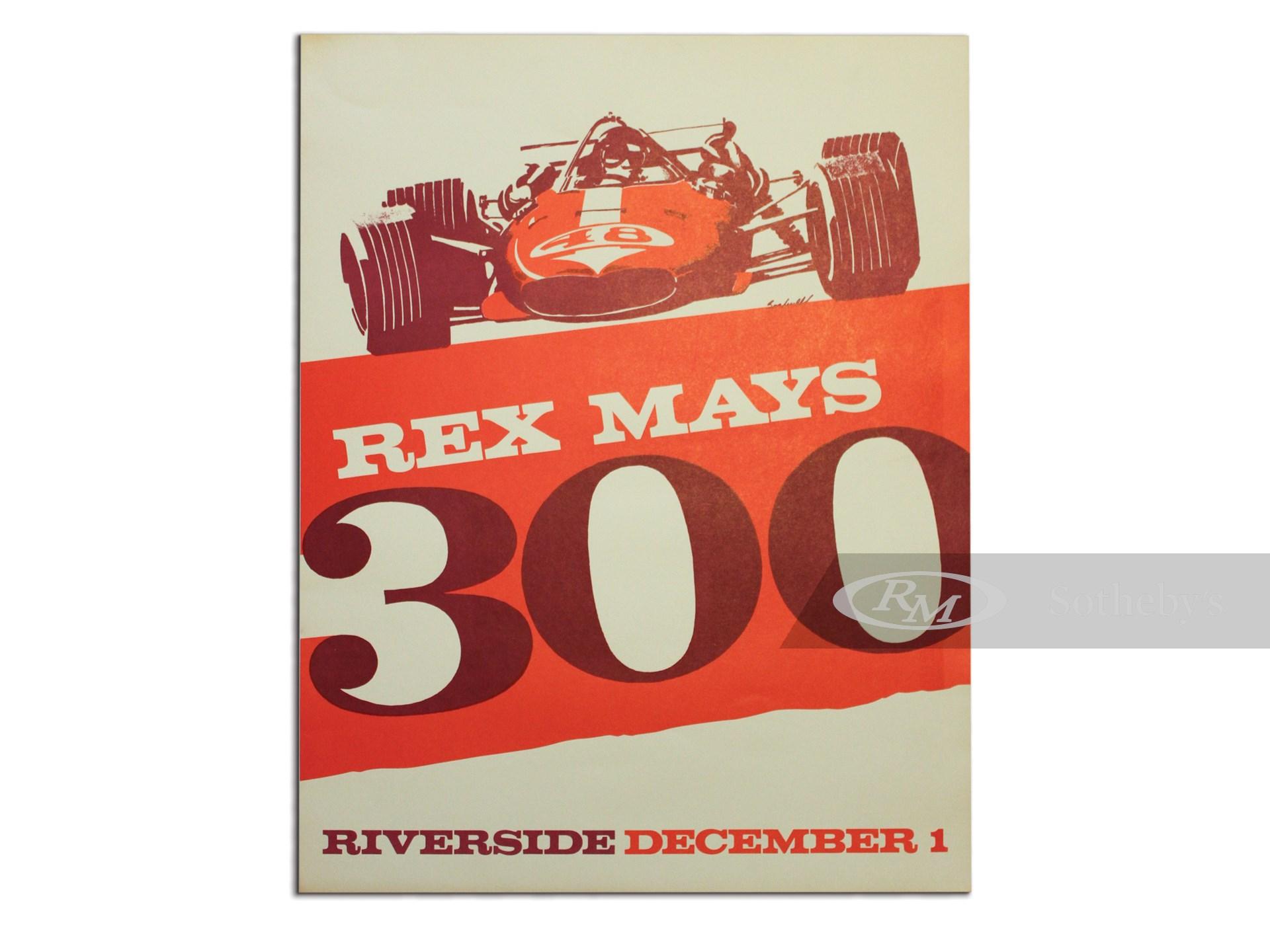 """""""Rex Mays 300 Riverside December 1"""" Vintage Event Poster, 1967 -"""