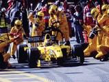 1999 Jordan 199 Formula 1  - $Heinz-Harald Frentzen during a pit stop at the 1999 Brazilian Grand Prix where he finished third.