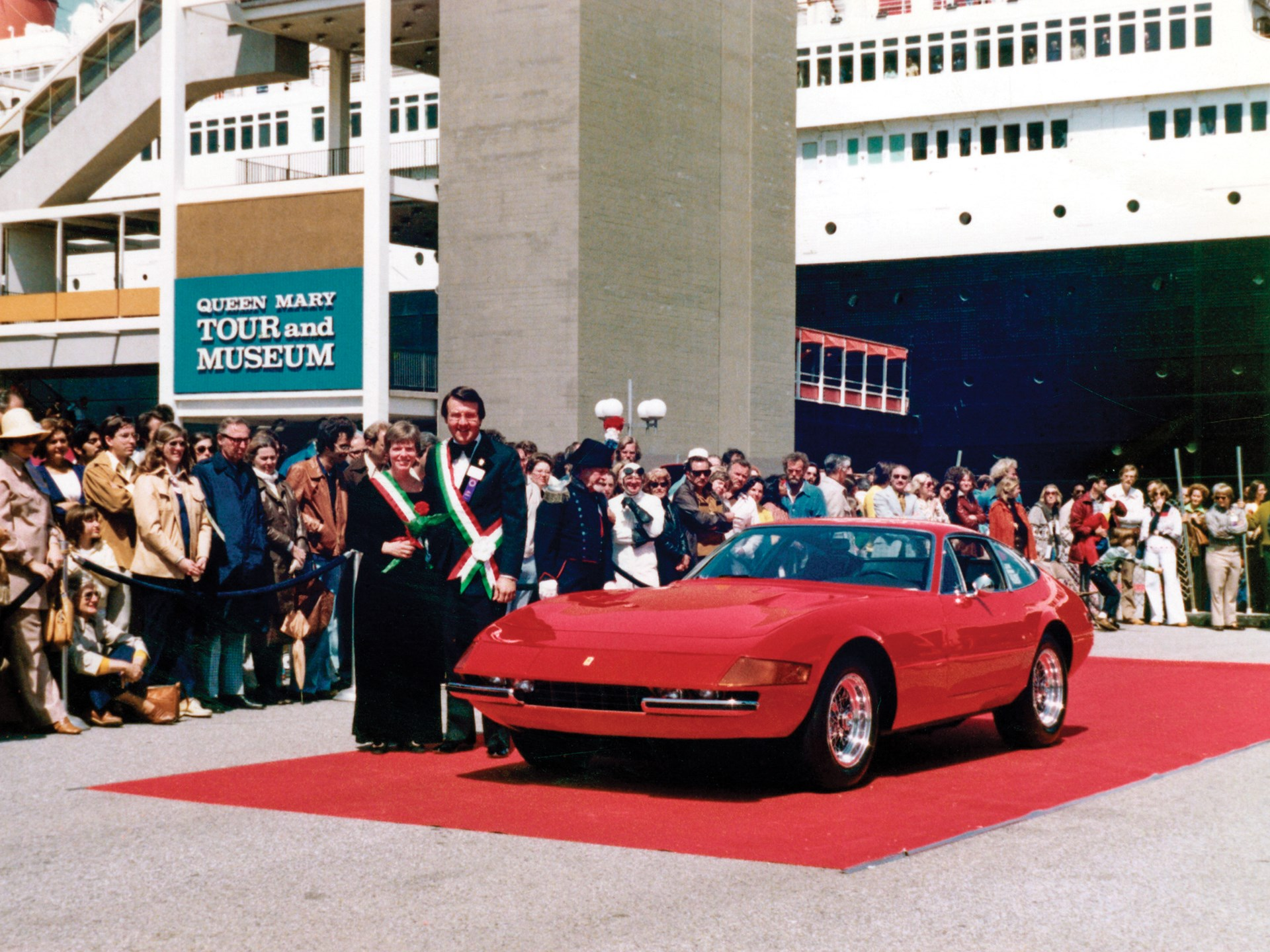 The Mastersons show off their Daytona after winning Best of Show at the Queen Mary Concours d'Elegance in 1988.