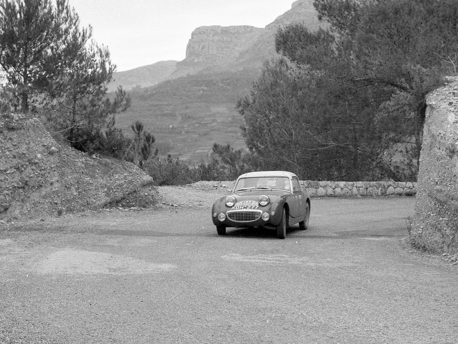 The Austin Healey at the Rallye Monte Carlo in 1959 where it finished fifth in class.