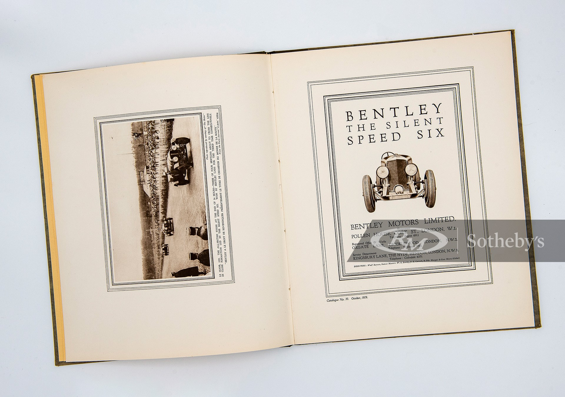 Bentley Speed Six Hardcover Sales Brochure available at RM Sotheby's Online Only Open Roads April Auction 2021