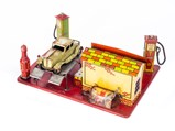 Tin Toy Cars, Truck, and Service Station - $