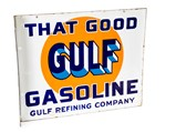 Gulf Tires Display and Double-Sided Porcelain Flange Sign - $