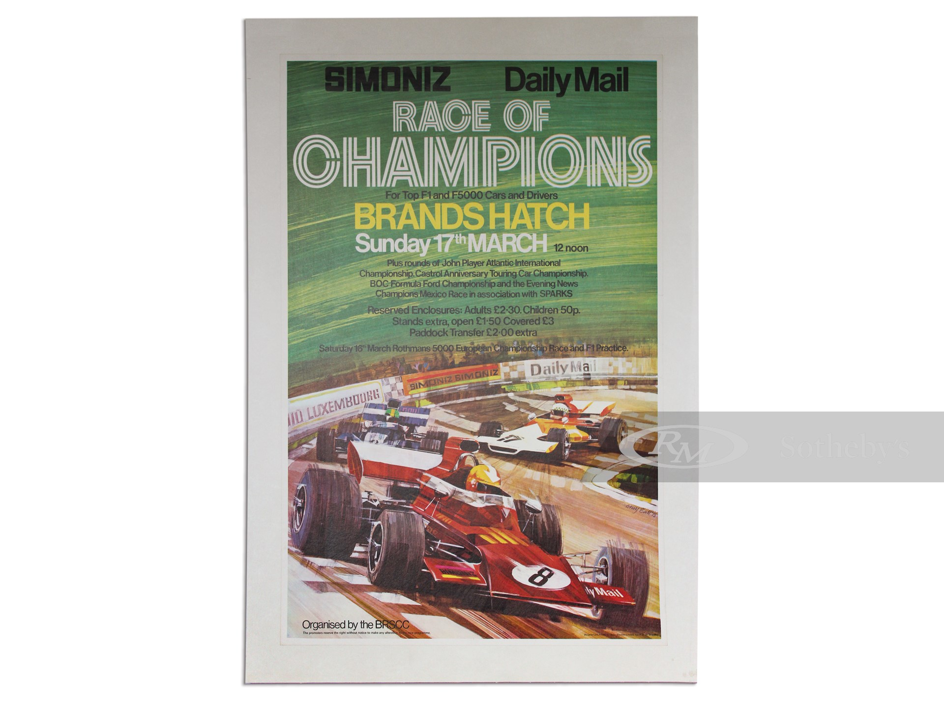 """""""Simoniz Daily Mail Race of Champions"""" March 17, 1973, Vintage Event Poster -"""