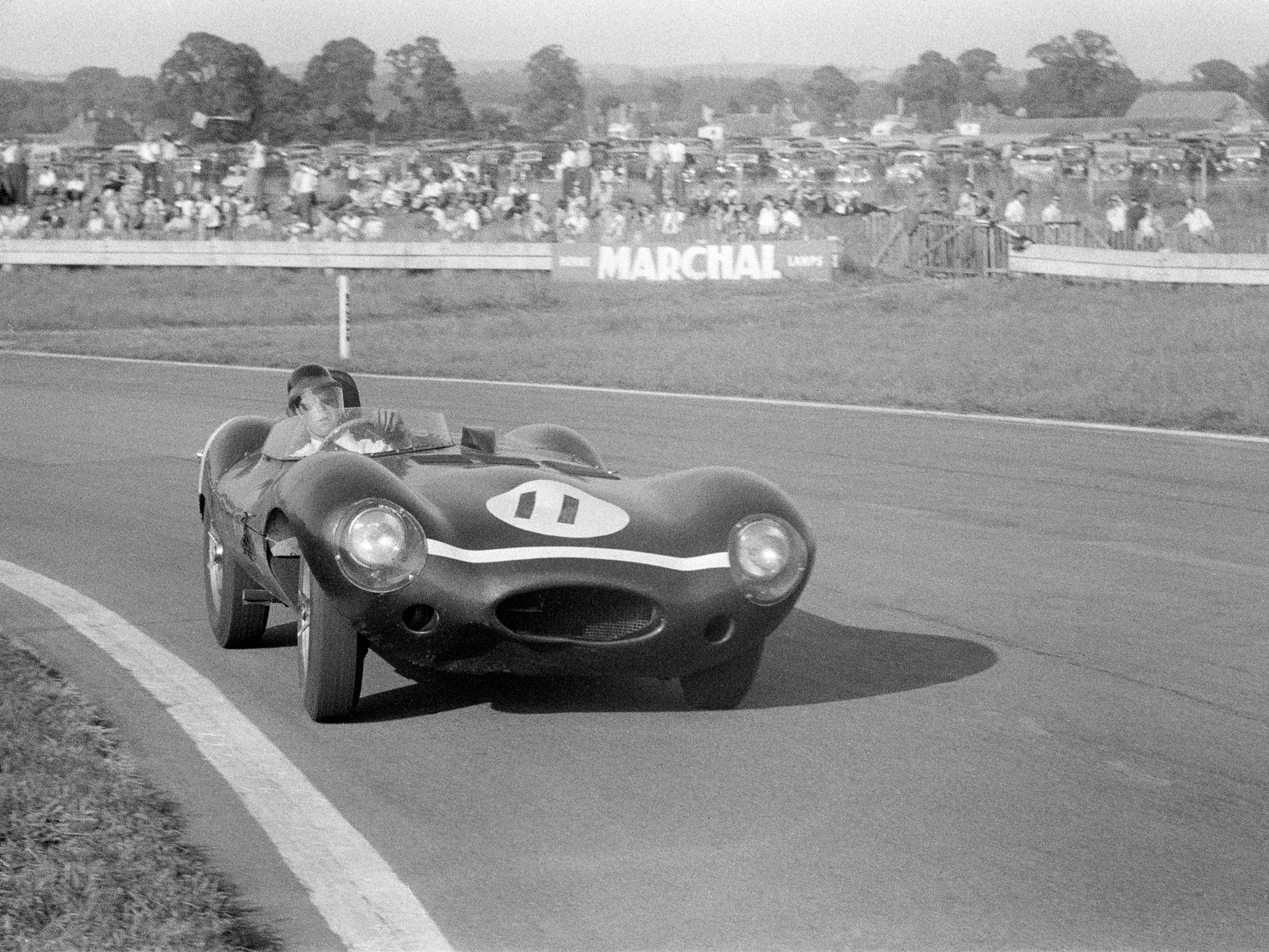 Chassis no. XKD 501 as seen at the 1955 Goodwood 9 Hours, where it finished 2nd.
