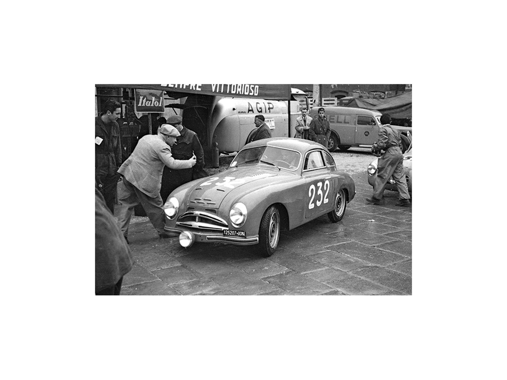 The Fiat-Patriarca at the 1950 Mille Miglia, where it finished 24th overall and 1st in class.
