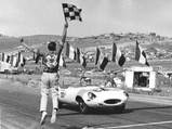 1962 Jaguar E-Type Series 1 3.8-Litre Roadster SCCA A-Production  - $Merle Brennan takes the checkered flag at Laguna Seca, June 9, 1963.