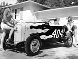 """1932 Ford """"404 Jr."""" Roadster by Berardini Bros. - $In his driveway at San Raphael, California, Jeano Lacoste gets some welcome help from MaryLu Lacoste and their neighbor, Corrine."""