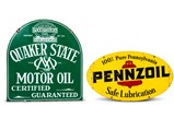 Pennzoil and Quaker State Motor Oil Double-Sided Signs - $
