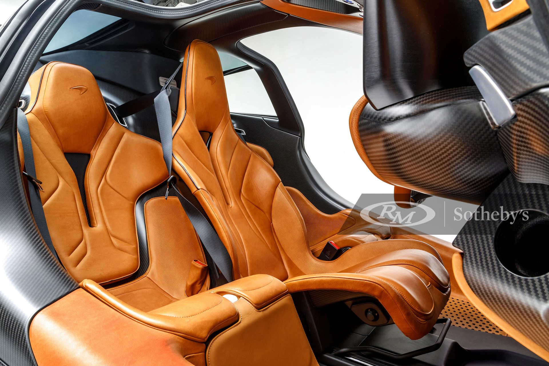 Vintage Tan Aniline Leather Three-Seat Cockpit of 2020 McLaren Speedtail available at RM Sotheby's Arizona Live Auction 2021