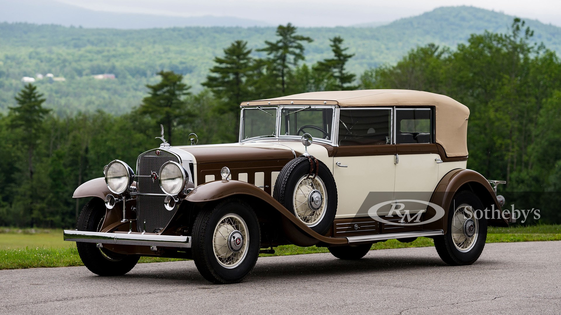 Brown and beige 1930 Cadillac V-16 All-Weather Phaeton by Fleetwood available at RM Sotheby's Amelia Island Live Auction 2021