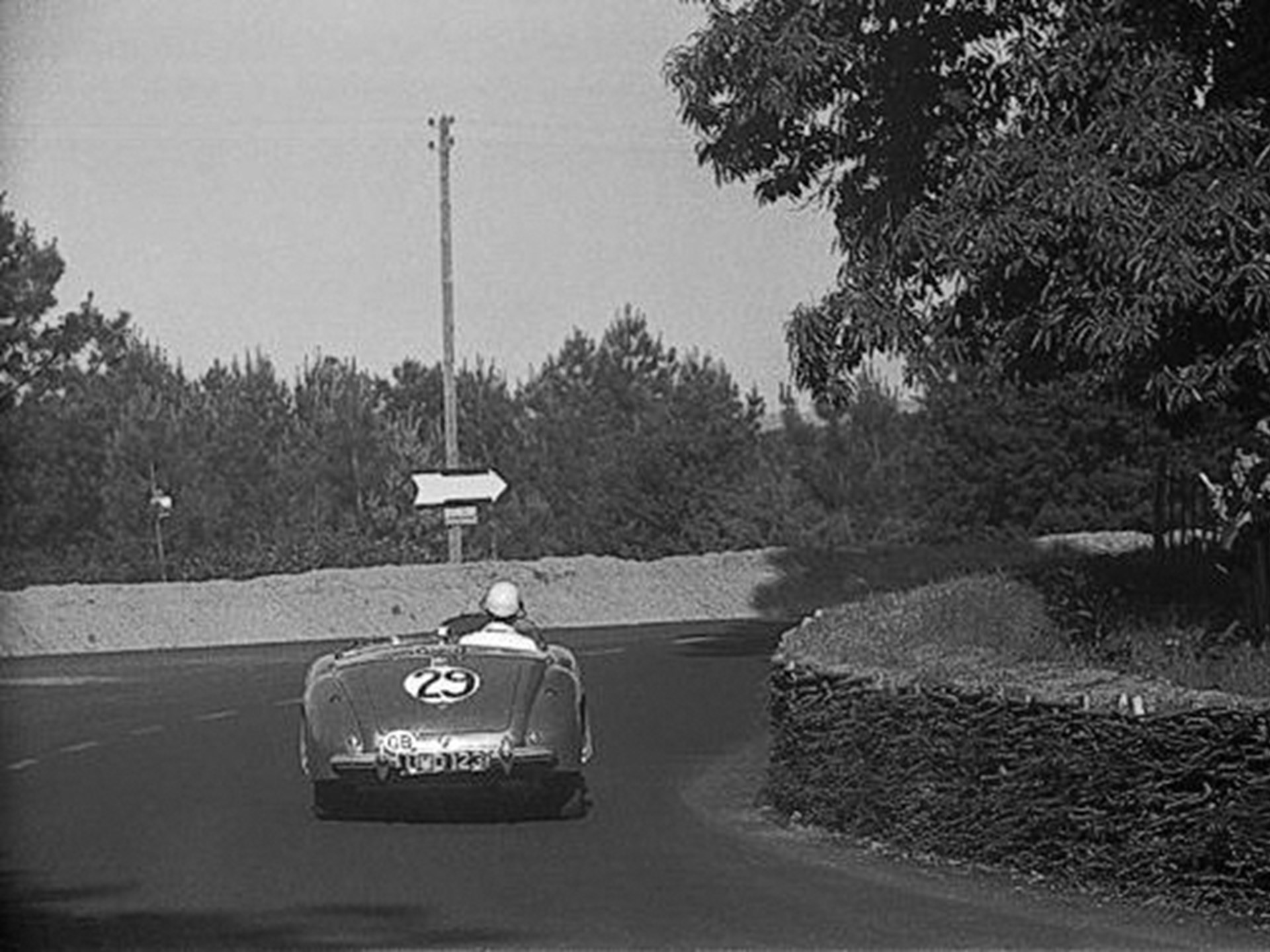 The 2-Litre Sports enters a corner at the 1949 24 Hours of Le Mans.
