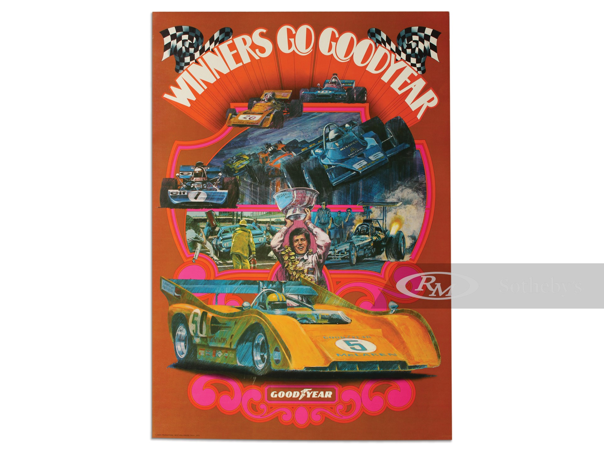 """Winners Go Goodyear"" Special Oversized Poster, 1972 -"